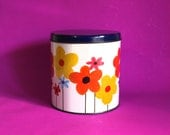 Flower Power Tin Canister - Vintage Retro Fabulous Daisy Metal Kitchen Storage with Purple Lid