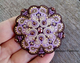 Elegant Lilac Beige Soutache Brooch - Hand Embroidered Soutache Jewelry - Lilac Beige Soutache - Statement Brooch - Lilac Jewelry