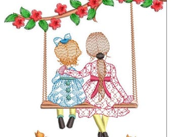 CUTE HOLLY HOBBY sisters machine embroidery download 3 diff sizes ( 4x4  4x5  5x5.5 )