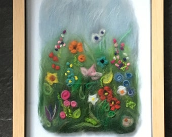 Fibre Art Wild Meadow Flower Picture In Box Frame