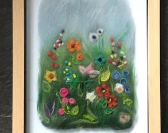 Fibre Art Wild Meadow Flower Picture In Box Frame