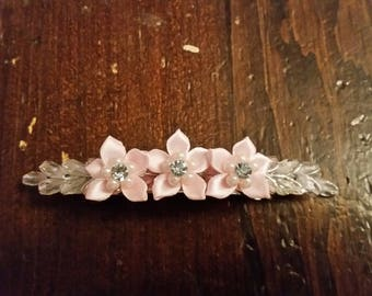 Pink Floral Bride/Bridesmaids/Any Occasion Hair Barrette