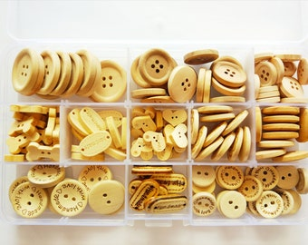 Natural wooden Button Box 150 units-box of 150 natural wooden buttons-natural wood button-HOLZKNÖPFE