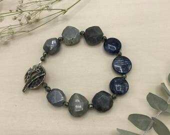 Kyanite, Labradorite, & Pyrite Bracelet, White Bronze Toggle, Gemstone Jewelry