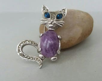 Cat Brooch Pin Jelly Belly Marcasite Signed Sphinx Purple Stone Rhinestone Silver Tone Vintage Cat Jewelry UK