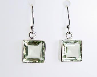 Green Amethyst Sterling silver drop Earrings