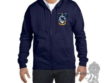 Ravenclw #1 Crest Pocket size front printed on Zipper Hoodie