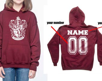 Custom Back, Gryffin #1 Crest White printed on Maroon YOUTH / KIDS Hoodie