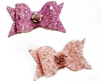 Glitter Flower Bow Headband or Clip - Photo Prop