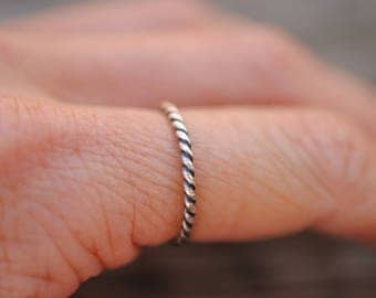 Twisted Wire Stacking Ring | Sterling Silver