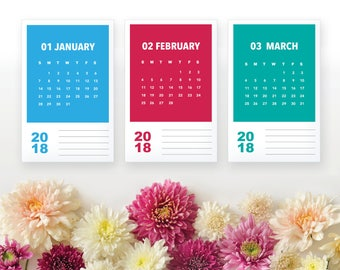 2018 Printable Monthly Calendar - Modern Rainbow Color Block 12 Month Desk Calenda Home Organizing - 2018 Instant Download Calendar