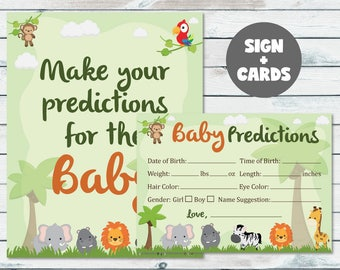 Safari Baby Shower Prediction Cards & Sign, Printable Jungle Animals Baby Statistics, Jungle Predictions For The Baby Cards And Sign