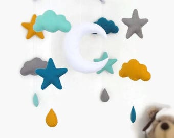 baby mobile  . baby crib mobile for room decoration . Suspension with stars, clouds, moon
