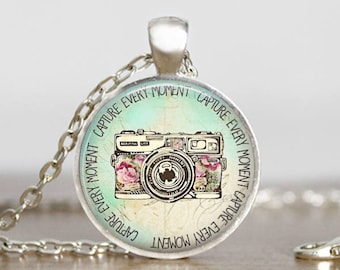 Capture Every Moment Necklace Camera Necklace Vintage Camera Capture Every Moment quote jewelry Quote keychain Quote Camera Necklace