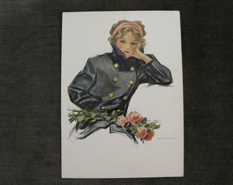 "1911 Vintage Henry Hutt Litho  Girl with Roses  7""x 9 1/2"""