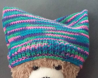 "Women's March ""Pussyhat"" inspired Soldarity in Diversity handknit cat ear hat"