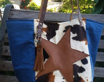 TOTE FABRIC COW, JEANS AND LEATHER