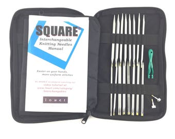 Louet Square Interchangeable Needle Set-Full Set US2-11 Kollage Square Interchangeables Set Square Circular Needles 6cables Free US Shipping
