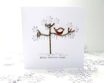 Christmas Card frosted tree, Personalised Handmade christmas card, twig tree, winter robin, xmas card, seasonal card, festive tree.