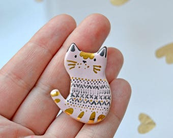 Hipster Cat Brooch, Adorable Cat with Gold Forelock and Patterned Sweater, Unique Cat Lover Gift, Tiny Art, Genuine Gold Decoration