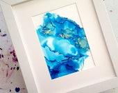 Blue & Gold 5x7  Abstract Art, Home Decor, Bright Decor, Alcohol Ink Art, Home Decor, Modern Art,  Office Decor, Abstract Art