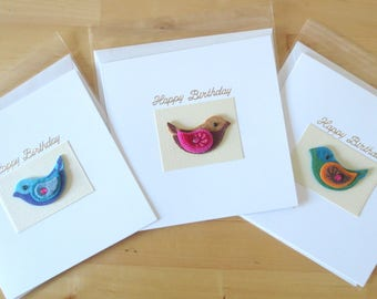 Pack of 3 birthday cards, Birthday card  pack, birthday card set, birthday card for her, felt, Handmade birthday cards, Greeting card pack