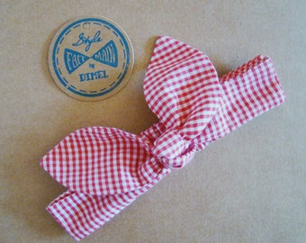 Headband tie baby red gingham headband 0-6 months by order
