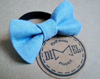 Blue chambray elastic woman girl hair bow