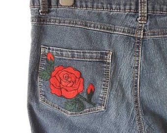 Dark Blue Denim Jeans With Red Rose Embroidery
