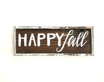 Happy Fall Handcrafted Wooden Sign // Rustic Fall Sign // Farmhouse Fall Sign // Hand Painted Wood Sign // Fall Sign