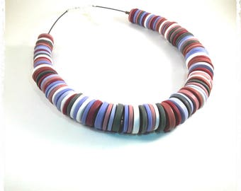 Multicolor Choker necklace made of polymer clay