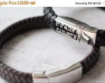 Summer Sale Coordinates Bracelet for Men - Coordinates Bracelet - Personalized Coordinates Bracelet