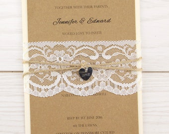 SAMPLE * Rustic Love Lace Parcel Wrap Wedding Invitation