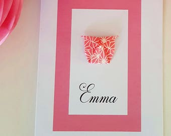 Origami invitation personalized with name - birthstone-baptism