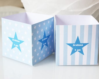 Box with pop corn or candies for party table - custom - stars and stripes