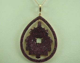 Turkish Handmade Jewelry 925 Sterling Silver Ruby Stone Ladies' Necklace