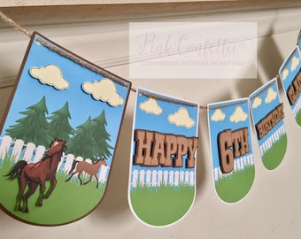Horse Birthday Banner /Horse Name Banner /Horse party