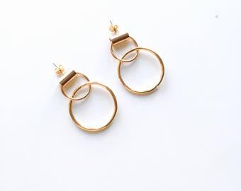 Double circle tube earrings