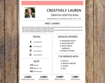 Cute One Page Media Kit Template   Blog Media Kit, Branding Kit, Blog Kit, Branding Package   Editable for MS Word   Instant Download