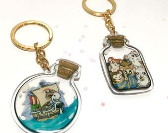 "Double sided  2"" Acrylic charms: Going Merry/Thousand Sunny, Hamtaro!"