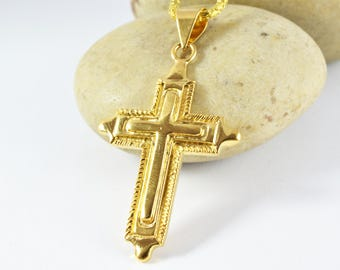 42x29mm 18KT Gold Filled Cross Pendant Size Gold-Filled Pendant/Double Engraved Inner Cross/ Wholesale Gold Filled Findings/Gold Pendant