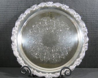 "Vintage WM A Rogers 12"" Silverplate Round Butler Serving Tray Platter Rose Scroll"