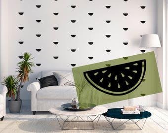 Wall decal Nursery Melon Melons Stickers Black White Gold Charcoal Vinyl