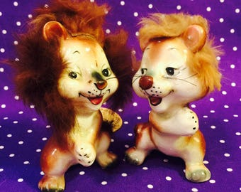 Enesco Anthropomorphic Lovin' Lions Figurines with Fur and Original Tags made in Japan circa 1950s