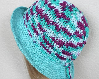 Turquoise summer hat, Woman's crochet hat, Handmade turquoise and purple brimmed hat, Sun hat, Beach hat, Travel hat, Crochet hat Bucket hat