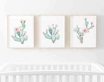 Cactus Blooms Boho Nursery Digital Print | Girl Wall Art | Cactus Floral Baby Girl Nursery Decor | Cactus Blooms Bundled Prints