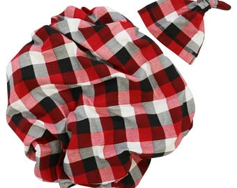 Axel's Lumberjack Newborn Swaddle Set | Red, Black, and White Plaid Baby Boy Receiving Blanket | Soft Swaddle Blanket, Hat, Headband
