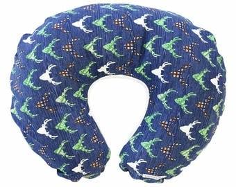 Buck Navy Deerhead   Green & Brown Nursing Pillow Cover