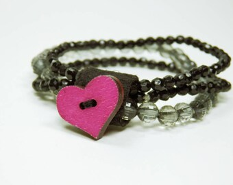 Bracelet heart in pink - heart button black grey pearl bracelet pink heart Valenstintag elastic heart mother's day bracelet