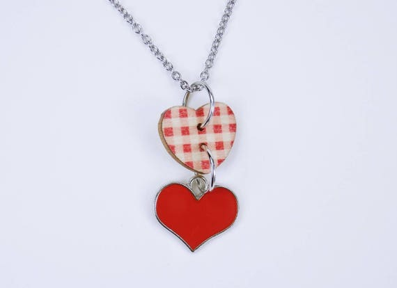 Necklace Heart Red with plaid pattern on silver chain necklace made of stainless steel jewelry oktoberfest dirndl Jewelry Dirndl Costume Jewelry